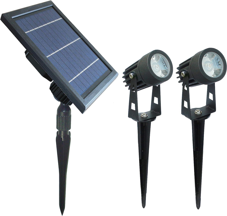 Solar-Powered Cast Aluminium Warm White LED Spotlight for Outdoor Garden Yard Landscape Tree Uplight Downlight