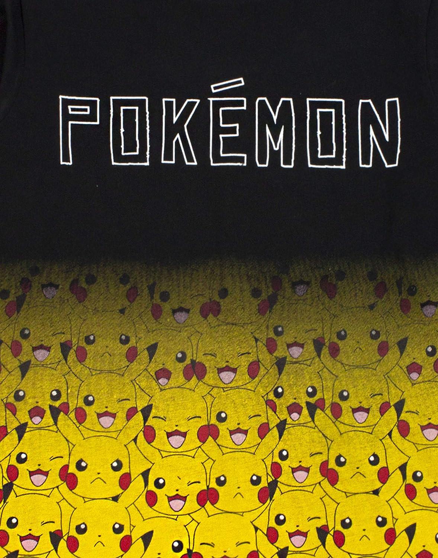 Pokemon Pikachu T Shirt Fade Long Sleeve Black Yellow Fashion Boys Tee T-Shirt