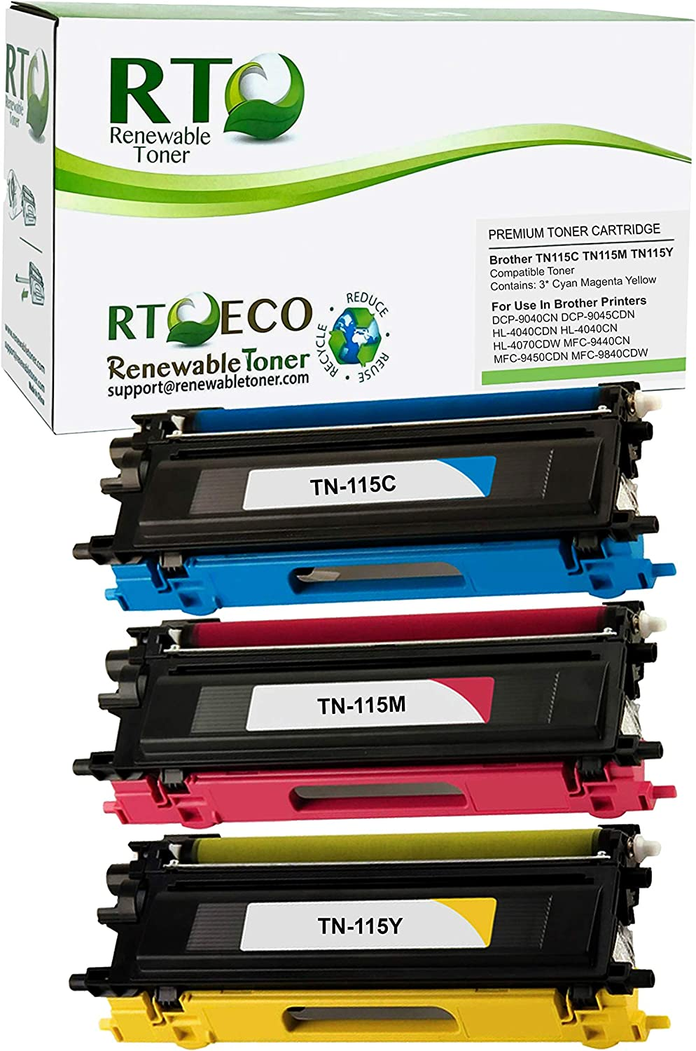 Renewable Toner Compatible Toner Cartridge Replacement for Brother TN-115C TN-115M TN-115Y TN-115 DCP-9040 DCP-9045 HL-4040 HL-4040 HL-4070 MFC-9440 MFC-9450 MFC-9840 (Cyan, Magenta, Yellow, 3-Pack)