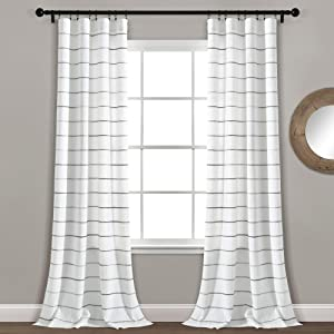 Lush Decor, Gray Ombre Stripe Yarn Dyed Cotton Window Curtain Panel Pair, 95