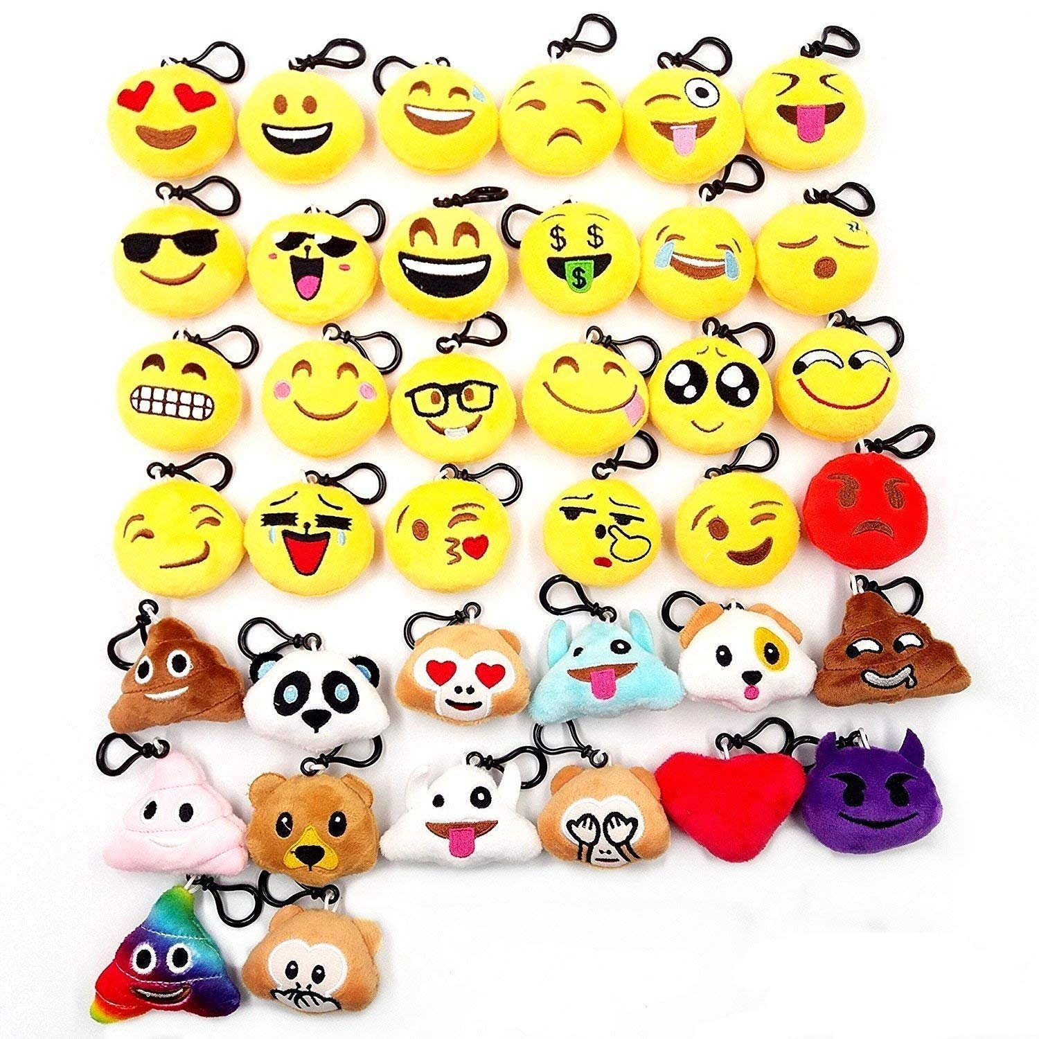 JZK 20 pcs mini plush toy, 5cm/2 inch emoji keychain emoji keyring for kids & adult birthday party favours, party bag fillers, party supplies decorations