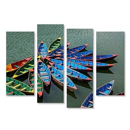 Cuadro Cuadros Pequenos Barcos De Colores En El Lago Phewa En - Cuadros-pequeos