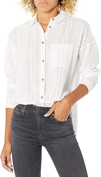 RVCA - Camisa de manga larga con botones para mujer - Blanco ...