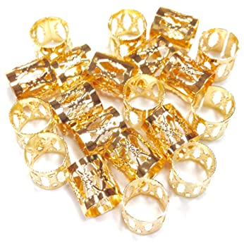 Amazon Dreadlock Braiding Beads Gold Plated Metal Cuffs Hair