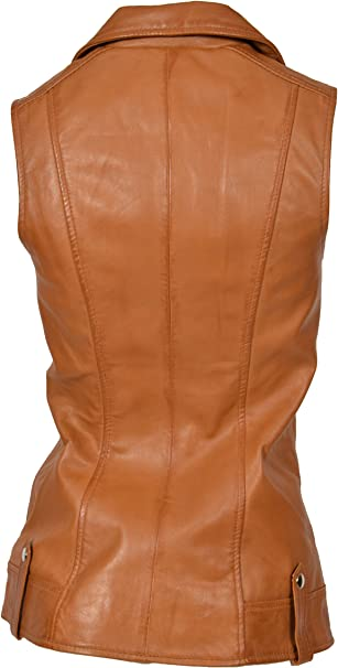 Womens Real Leather Waistcoat TAN Gilet Long Fitted Vest Sleeveless Jacket Top Tess