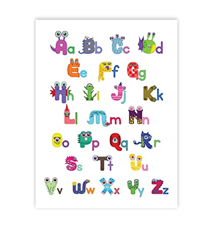amazon com wall letters monster alphabet 11x14 print for kids