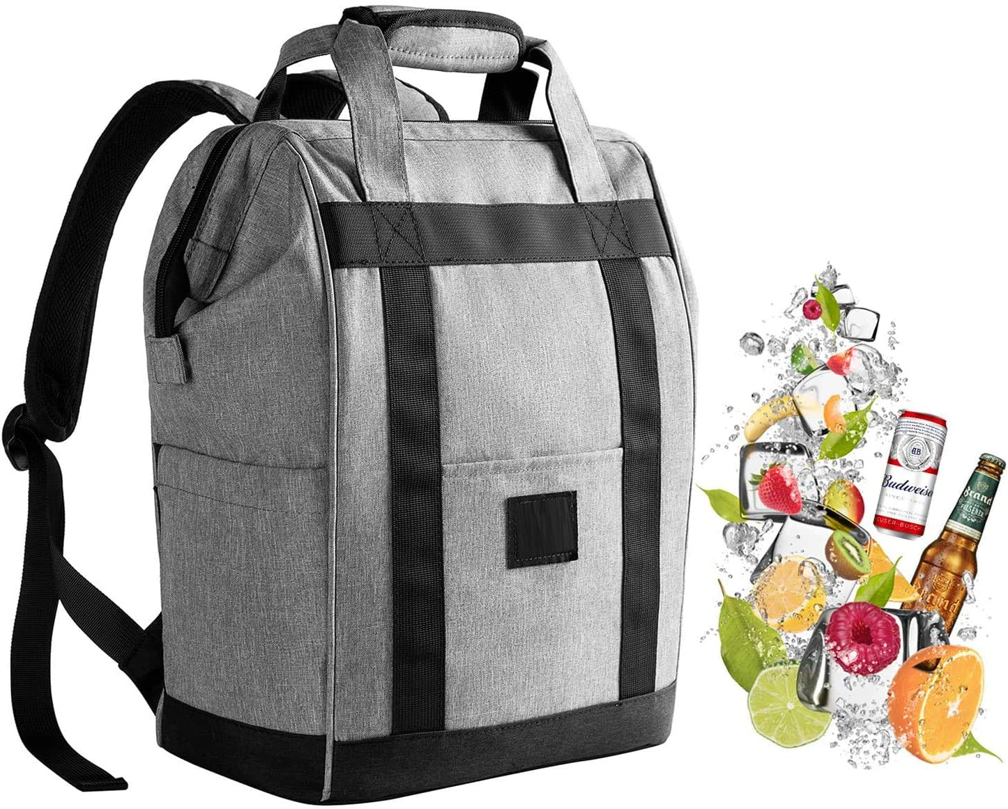 Backpack Cooler Insulated Leakproof Waterproof Oxford Fabric Light Weight Large Capacity Ice Picnics Bag Cooler Tote for Beach, Travel, Camping, Hiking,Field Trips Gray