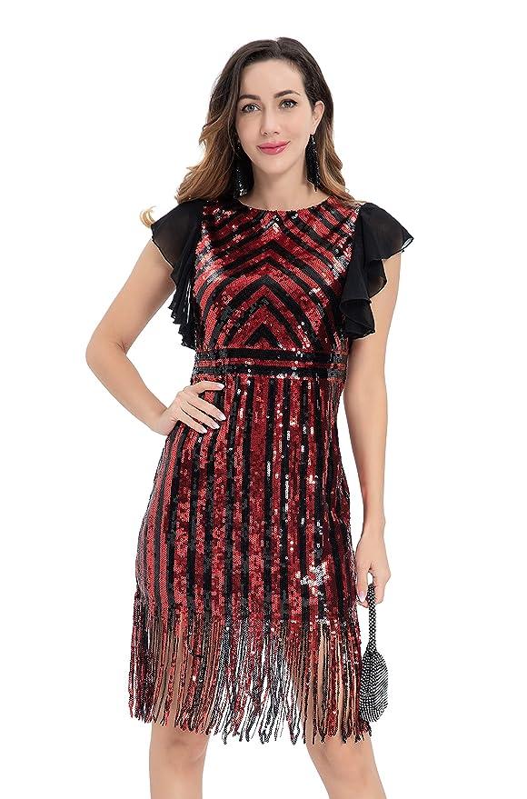 1920s Style Dresses, 20s Dresses Metme 1920s Flapper Dress Charleston Vintage Sequin Embellished Art Deco Great Gatsby Dress $43.99 AT vintagedancer.com