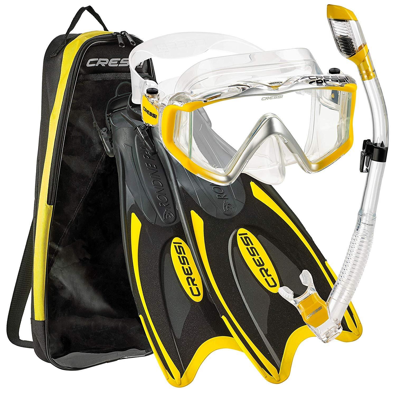 Cressi Palau Traveling Premium Snorkel Set, Panoramic Wide View Adult Diving Snorkeling Mask, Desert Dry Snorkel, Adjustable Fins, Travel Gear Bag - Metallic Yellow - Medium/Large by Cressi