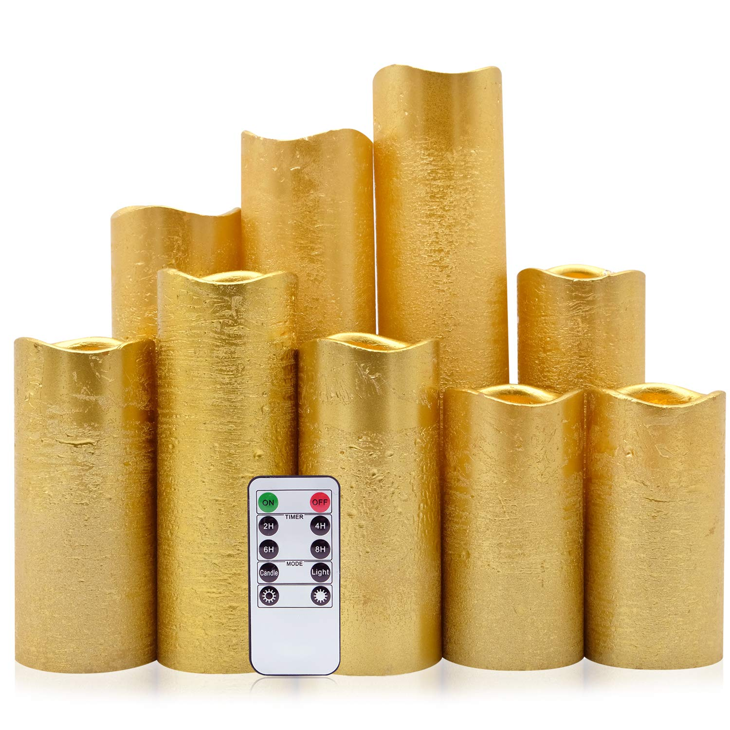 Eldnacele Flameless Candles Flickering LED Gold Coated Pillar Candles Set of 9(D2.2'' x H4'' 5'' 6'' 7'' 8'' 9'') Electric Unscented Real Wax Gold Rustic Battery Operated Candles with Remote Timer by Eldnacele