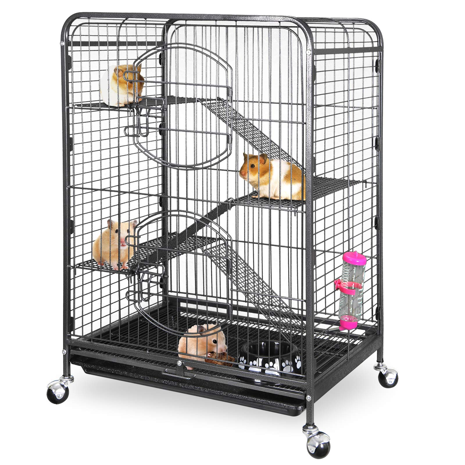 ZENY 37'' Ferret Cage Rabbit Guinea Pig Chinchilla Rat Small Animal House 4 Levels (Black) by ZENY
