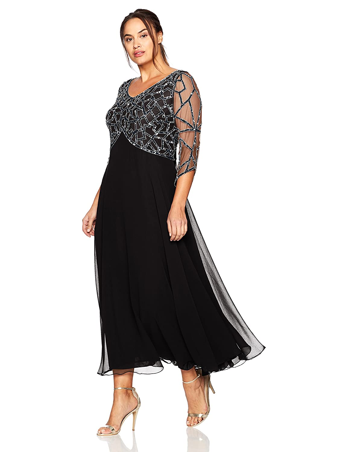 1920s Plus Size Flapper Dresses, Gatsby Dresses, Flapper Costumes J Kara Womens Plus Size 3/4 Sleeve Geo Beaded Gown $238.00 AT vintagedancer.com