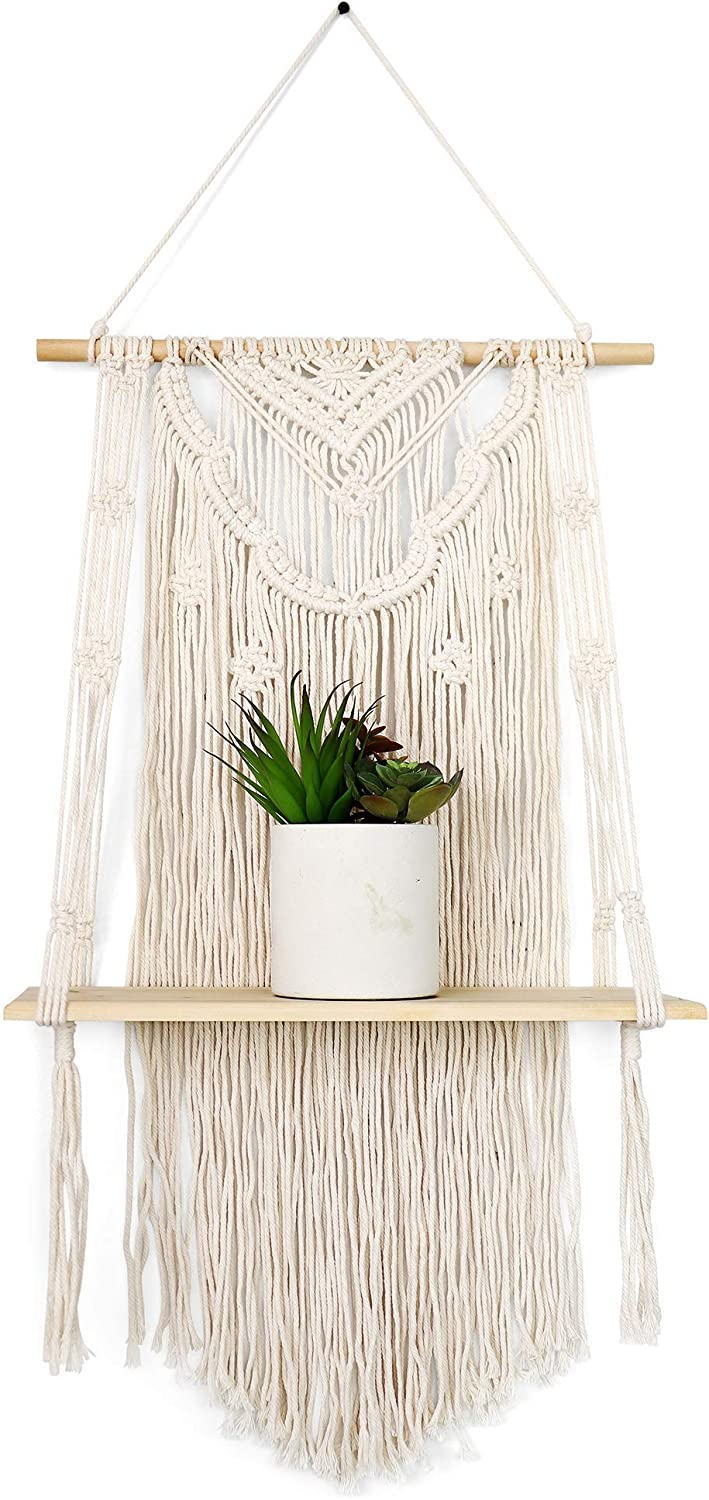 GregCo Handmade Macrame Wall Hanging Shelf - Decorative Floating Bohemian Shelf for Plants, Books and Vases - Woven and Handmade Display Shelving Unit for Homes or Office
