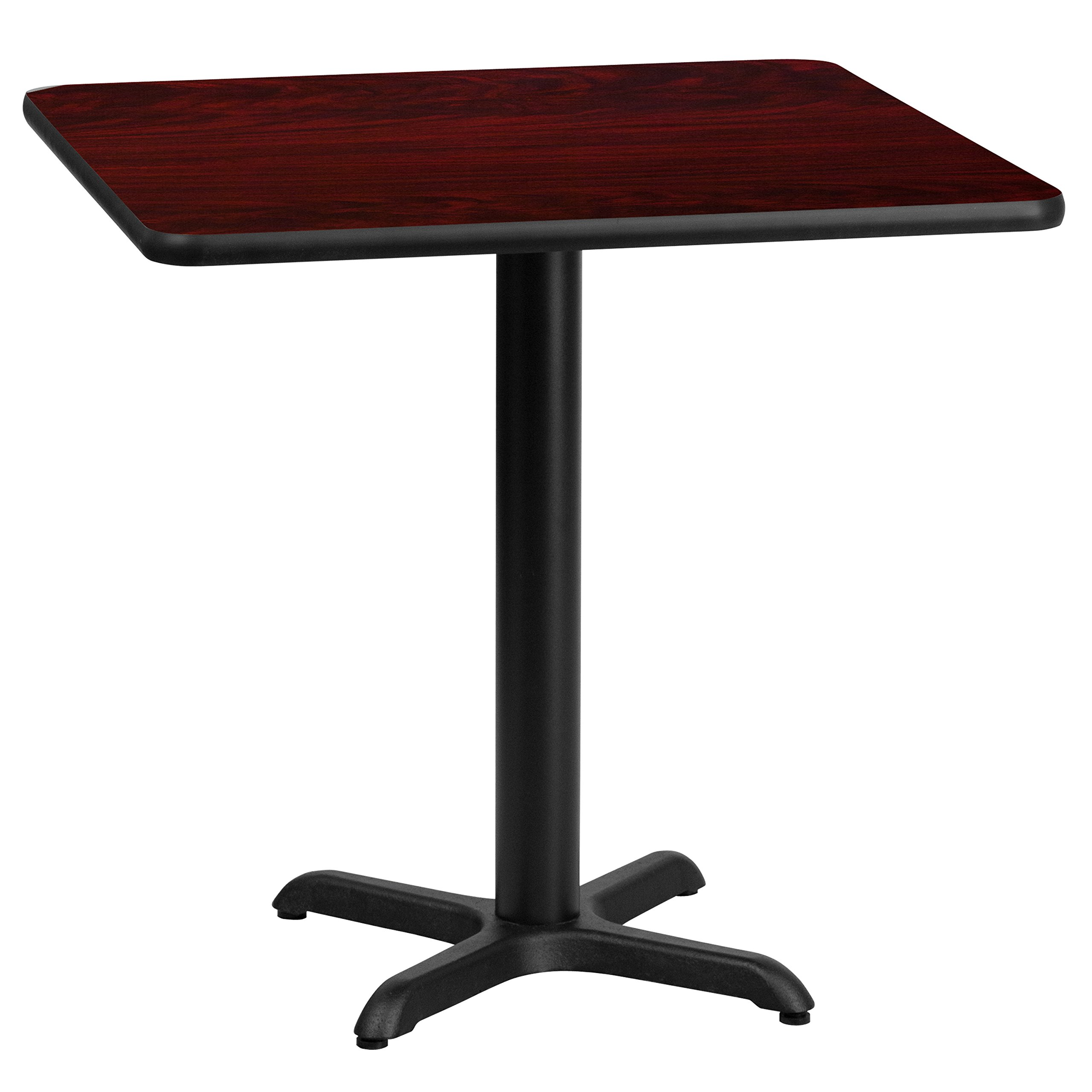 Flash Furniture 24'' Square Mahogany Laminate Table Top with 22'' x 22'' Table Height Base by Flash Furniture (Image #2)