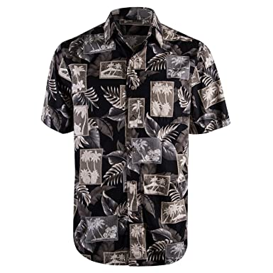 630205e3 Campia Men's Cotton Print Shirt (Black 17, M) Floral Shirt Mens Short Sleeve
