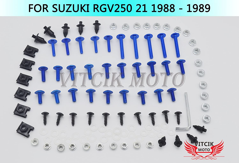 VITCIK Kits de boulons pour Moto RGV 250 22 1990 1991 1992 1993 1994 1995 RGV250 22 90-95 Attaches Aluminium CNC Argent