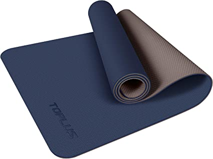 Amazon.com : TOPLUS Yoga Mat, Upgraded 1/4 inch Non-Slip Texture Pro Yoga Mat Eco Friendly Exercise & Workout Mat with Carrying Strap - for Yoga, Pilates and Floor Exercises (Blue) : Sports
