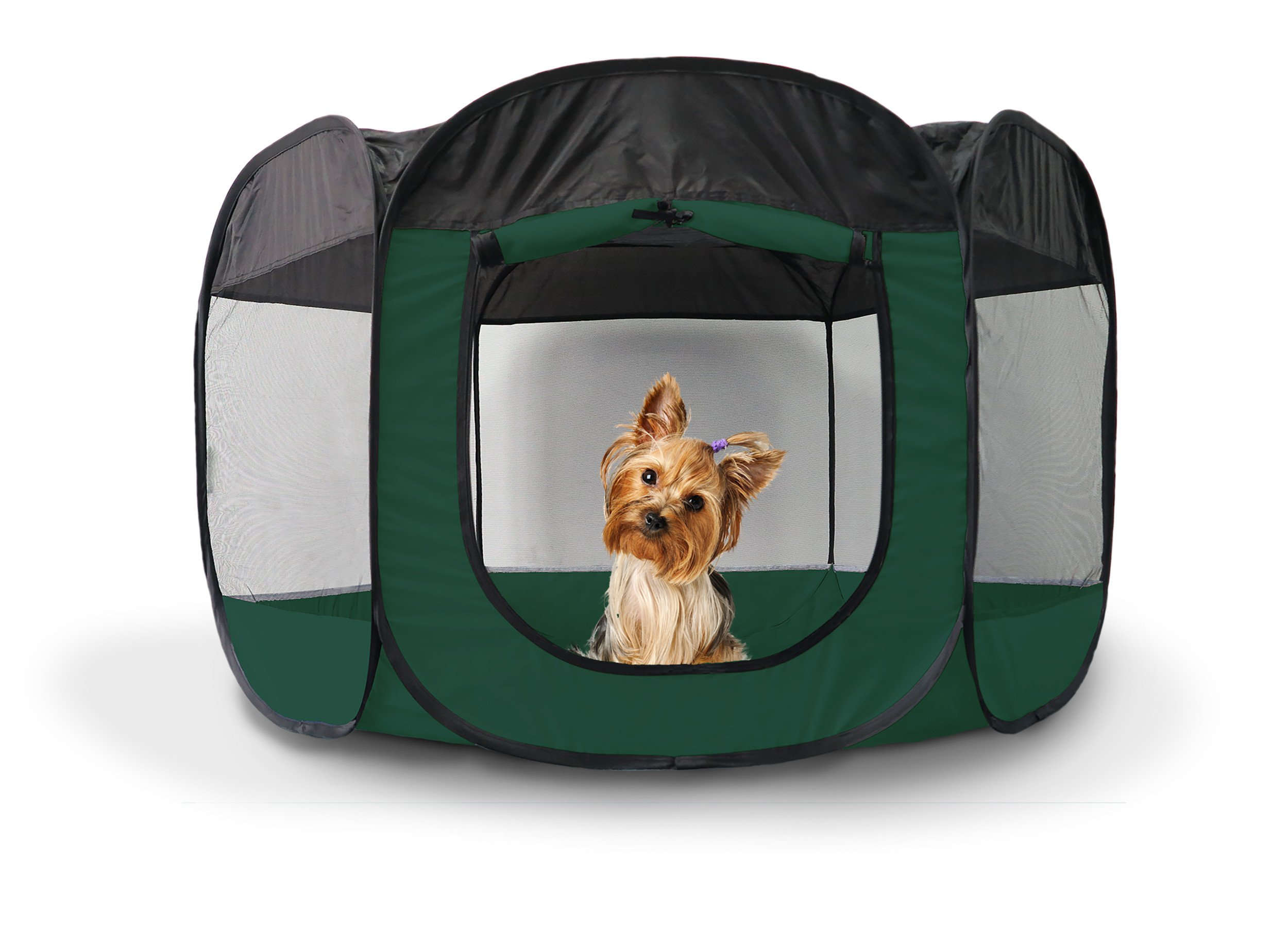 39x23.5 Inch Hunter Green Small Portable Pet Play-pen, Open-air Mesh Screened Windows Deluxe 360 Degree View Zippered Side Panel Entrance Removable Top 6 Side Panels Tie-up, Durable Metal Fabric by PH (Image #1)