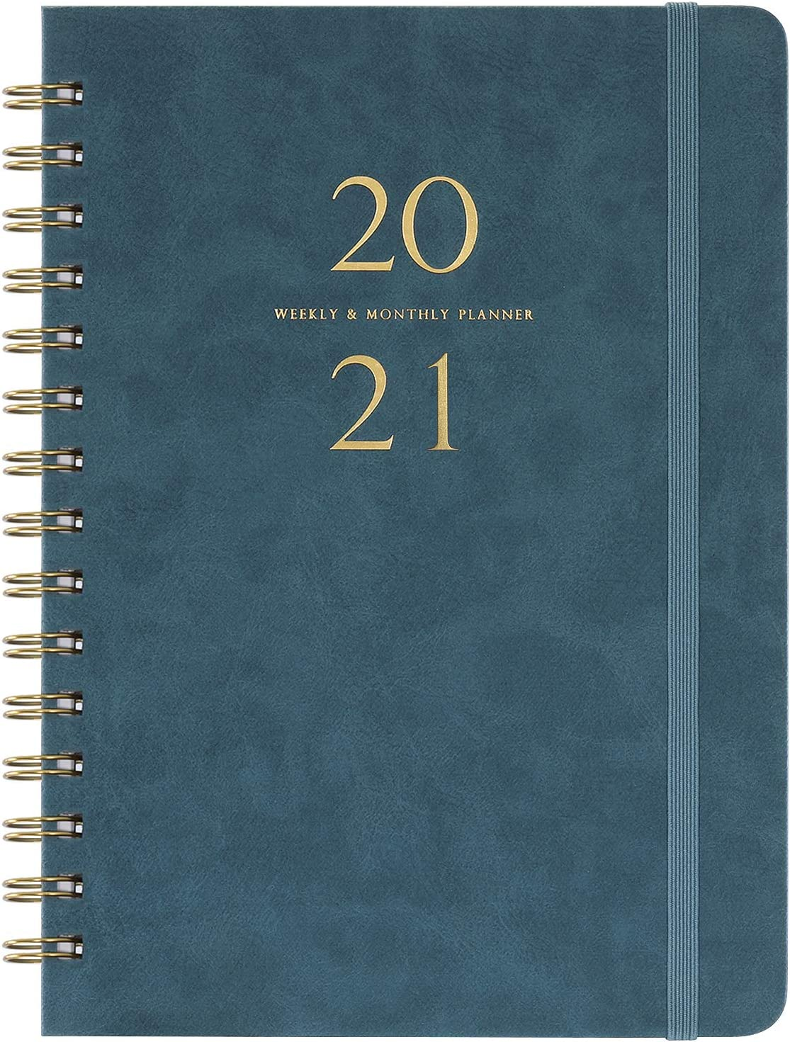 """2020-2021 Planner - Weekly & Monthly Planner with Monthly Tabs, 6.3"""" x 8.4"""", Smooth Faux Leather & Flexible Cover with White Paper, July 2020-June 2021, Wirebound, Green"""