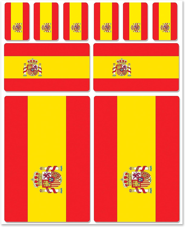Biomar Labs® 10pcs Pegatina España Spain Flag Bandera Vinilo Adhesivo Coches Cascos Motos Ciclomotores Bicicletas Ordenador Portátil D 20: Amazon.es: Coche y moto