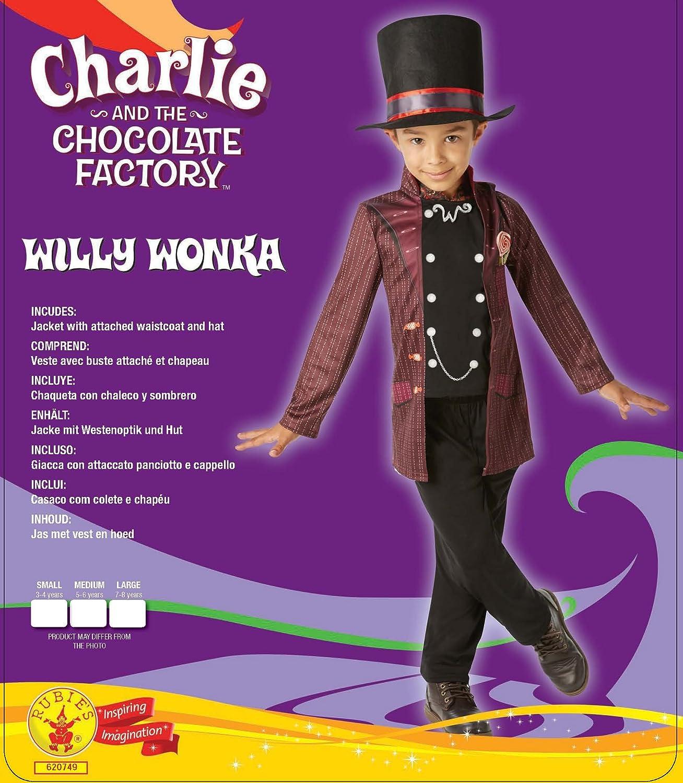 Rubies - Disfraz Oficial de Willy Wonka Charlie y la fábrica de Chocolate para niños