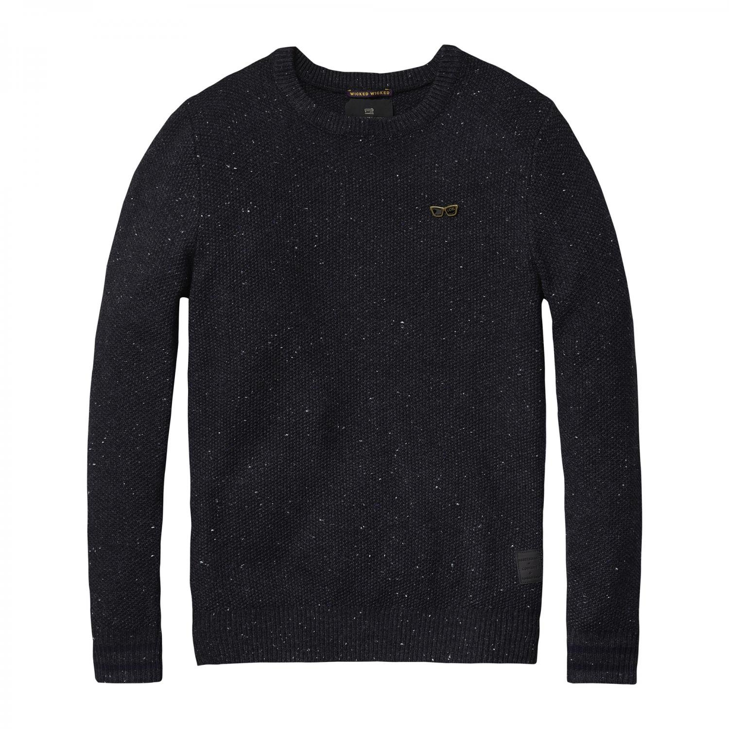 Scotch & Soda Herren Pullover Structure Knitted Pullover 101660 Graphite Melange XL