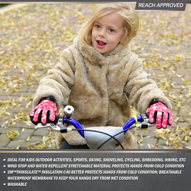Edad 3-4 Ni/ños 0℃ o Superior Forrado Impermeable Guantes de Invierno para Senderismo,Cilismo y Deportes al Aire Libre Vgo.. 1Par,Tama/ño XS,Rojo,SL221FW