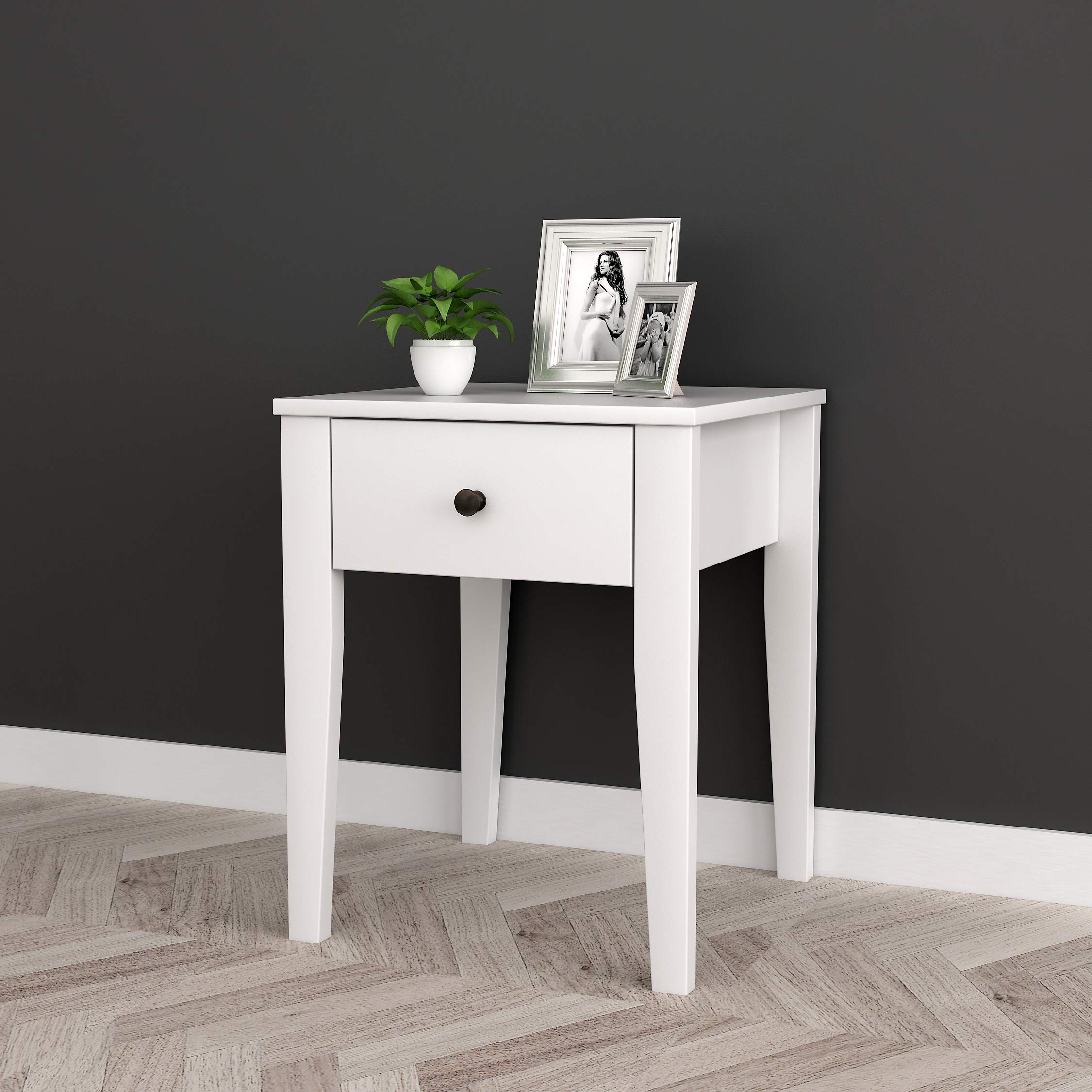 White Finish Nightstand Side End Table with One Drawer by Unknown