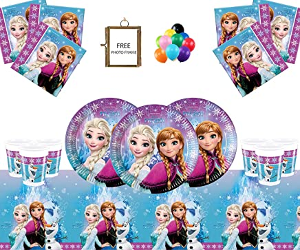 Frozen Party Supplies Disney Kids Birthday Tableware Northern Lights Decorations 16- Frozen Party Plates Cup Tablecover - Free PHOTO FRAME & BALLOONS