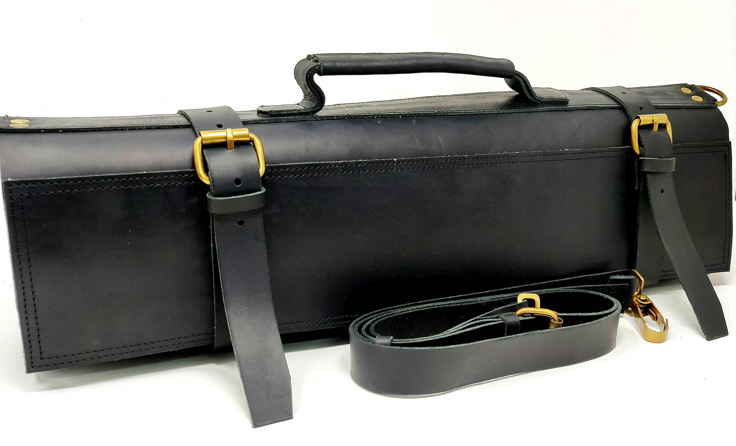 M'Cuero Leather Black chefs roll bag knife roll leather bag shoulder Bags
