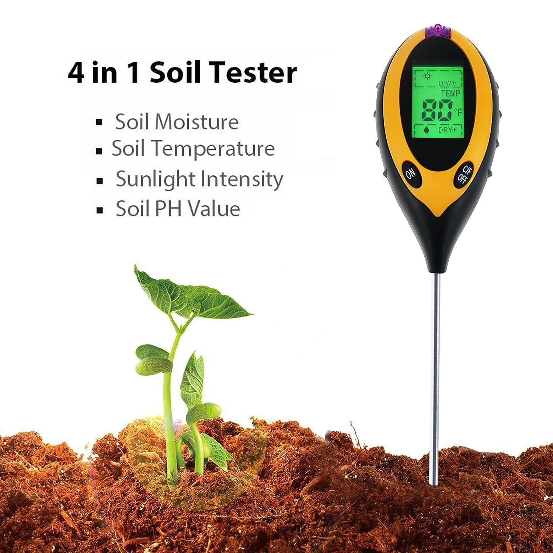 Blumen Pflanzen TekcoPlus 4-in-1 Digitales Bodenmessger/ät f/ür den Innen- und Au/ßenbereich Bauernhof pH-S/äure-Tester f/ür Garten Sonnenlicht Rasen Feuchtigkeitstemperatur