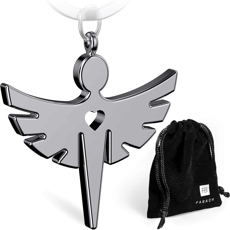 FABACHTM - Llavero con ángel de la guarda y corazón (metal), color plateado, negro y oro rosa