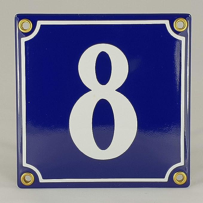 Emaille Schild Hausnummer 52 Blau-Wei/ßHandarbeit