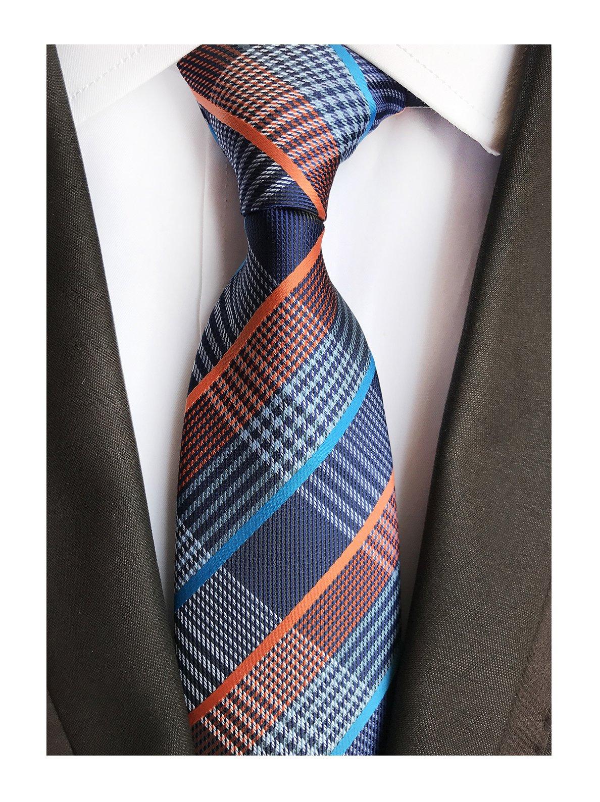 Men's Spring Navy Blue Orange White Gingham Seft Ties Trendy Party Cool Neckties