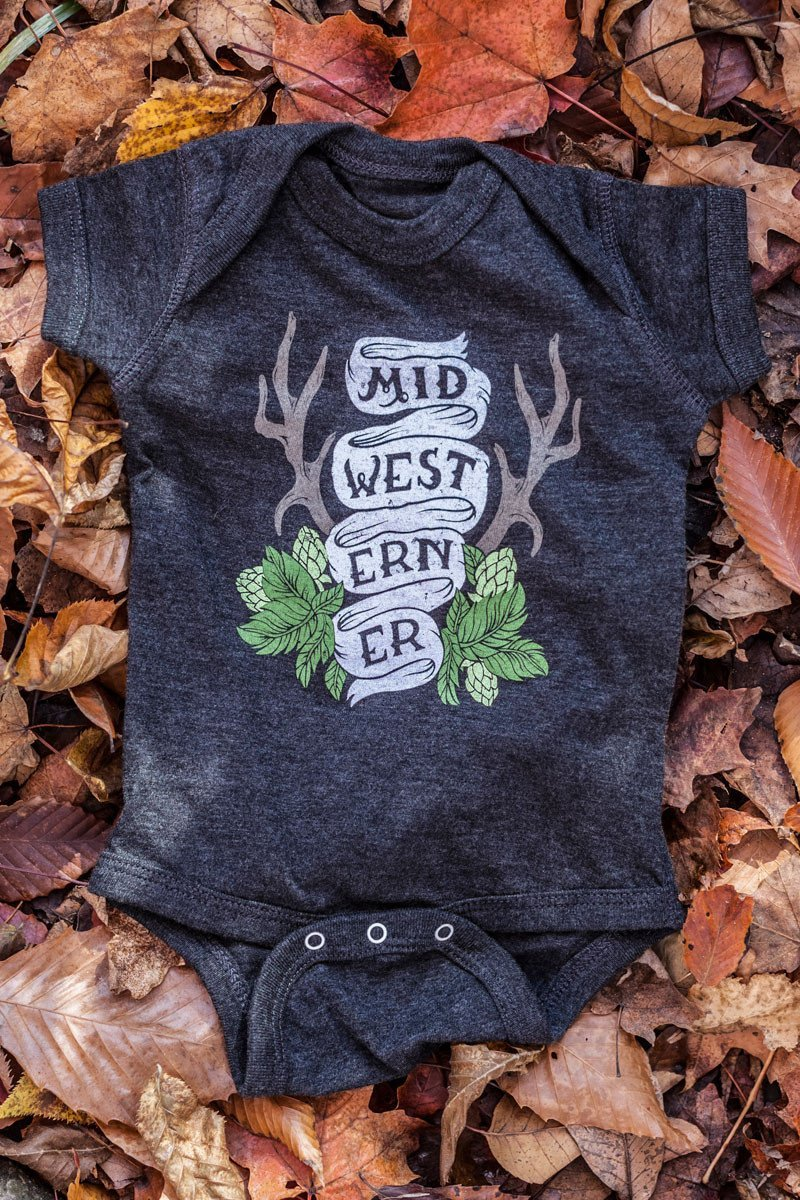 The Midwesterner Black Baby Onesie Grey Black Baby Jumper Celebrates the Midwest Made in the USA.