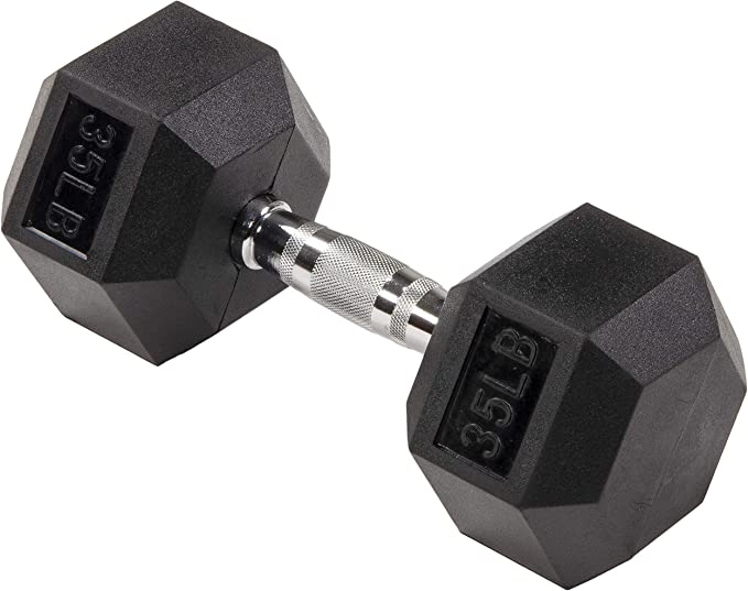 Amazon.com : Sporzon! Rubber Encased Hex Dumbbell in Pairs or Singles : Sports & Outdoors