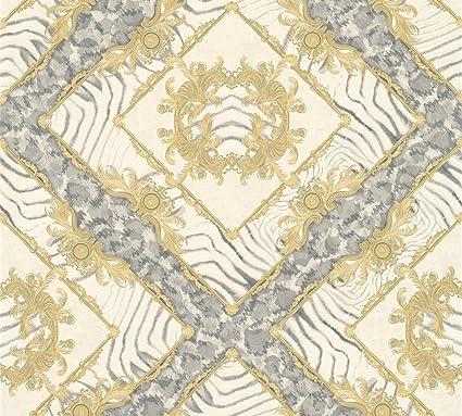 Versace Wallpaper Non Woven Wallpaper Vasmara   M X   M Cream Gray Metallic Made In
