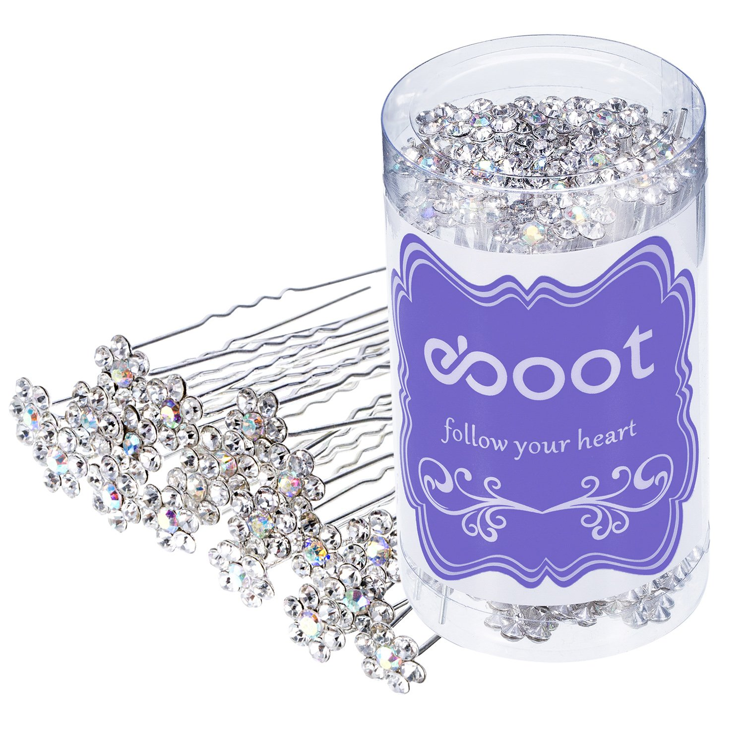 eBoot 40 Pack Flower Crystal Rhinestone Hair Pins with a Storage Bag for Bridal Wedding Hair Accessories (White)