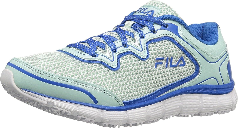 Fila Women's Memory Fresh Start Slip Resistant Work Shoe B01LG80FXG 7.5 B(M) US|Fashion Aqua, Electric Blue, White