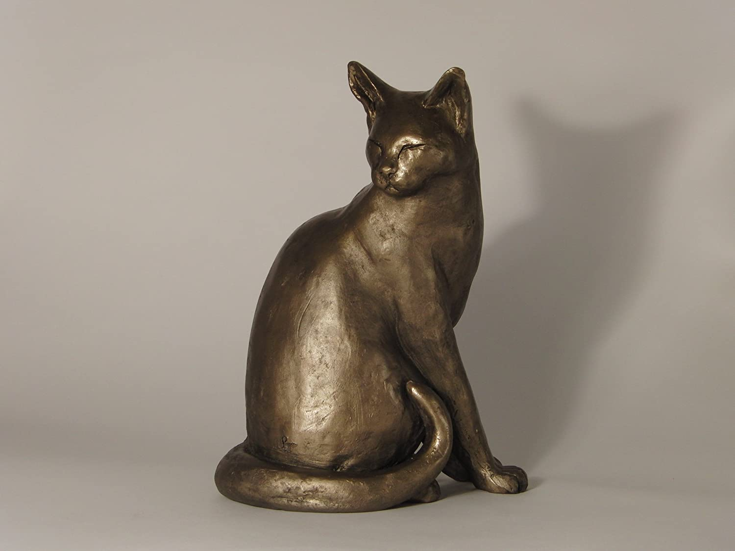 Stretching Cat Sculpture Bronze Resin Statue Art Collectibles Home Office Decoration Gifts for Cat Lover Tooarts