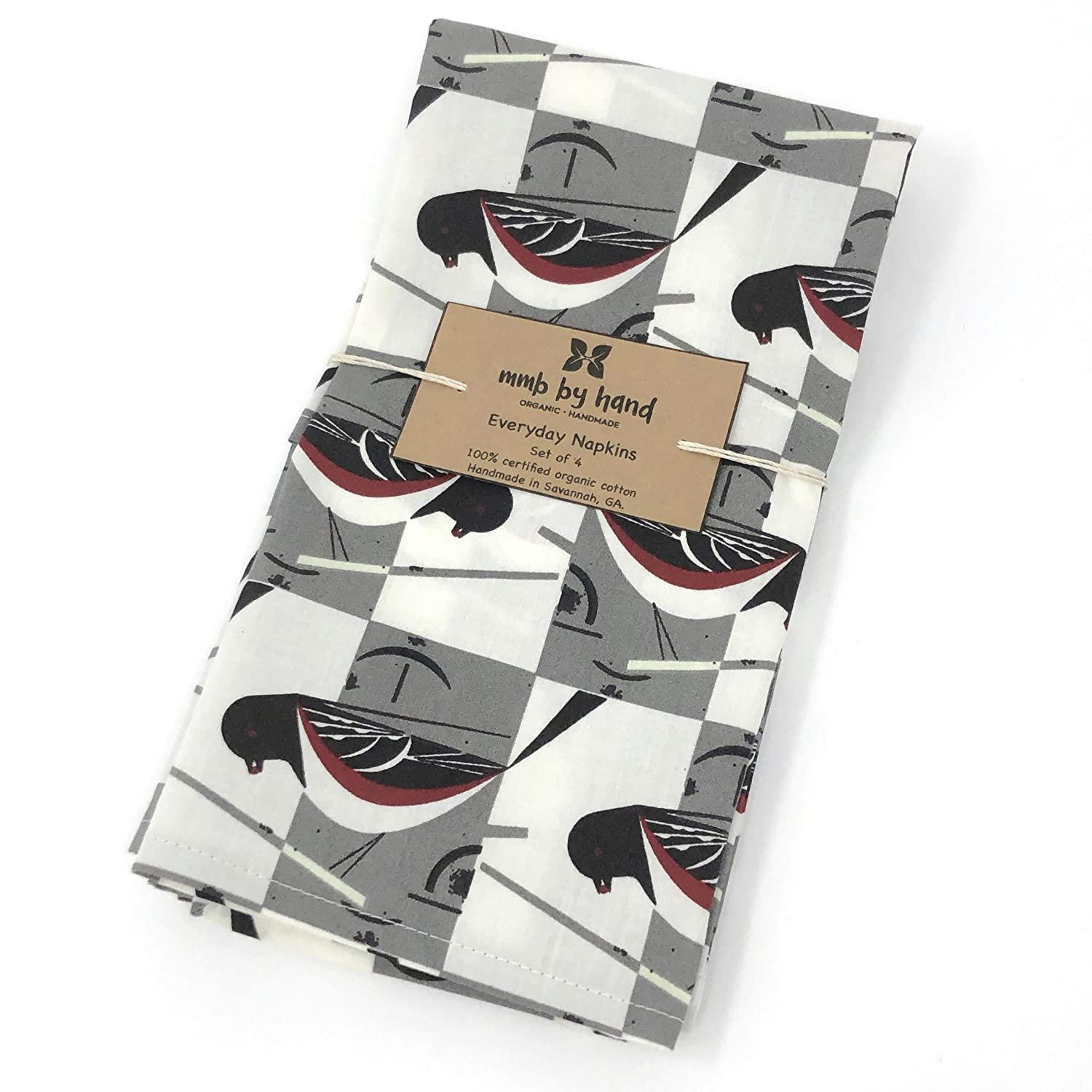 Organic Charley Harper Spotted Towhee Cloth Napkins Set of 4