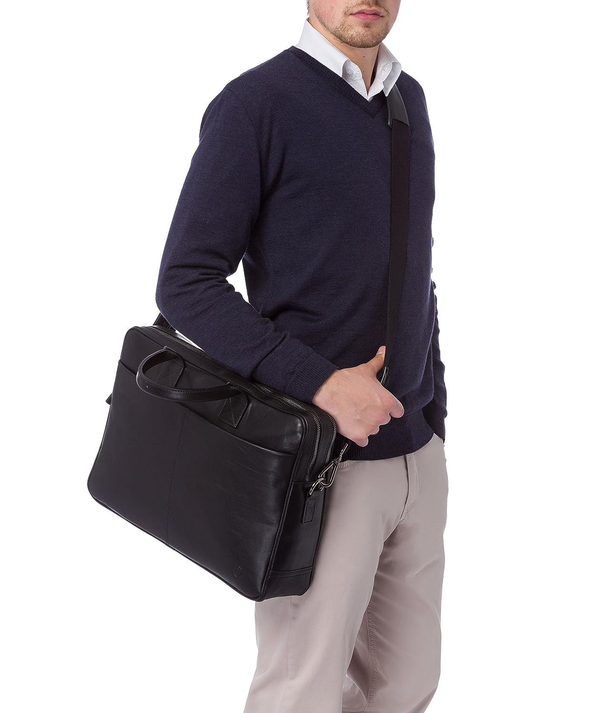 VON HEESEN Laptoptasche bis 15,4 Zoll I Made in Italy I 1 Hauptfach I Umh/ängetasche f/ür Laptop I Leder Aktentasche f/ür Notebook I Tasche f/ür Damen und Herren Braun