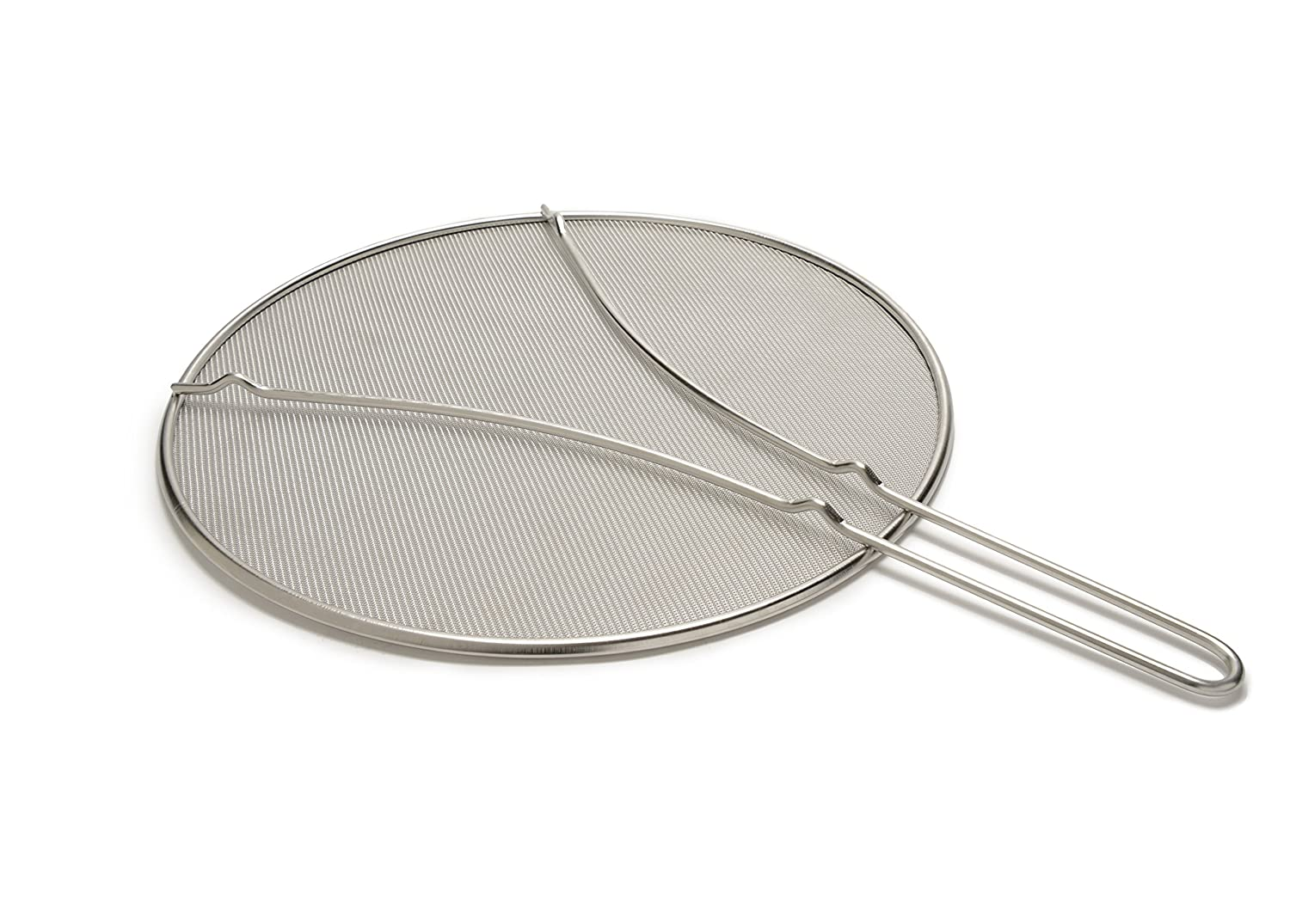 """Splatter Screen - 13"""" Stainless Steel Screen with Fine Mesh and Resting Feet - High Quality Food Safe Heavy Duty Grease Guard Splash Shield for Pots and Frying Pans"""