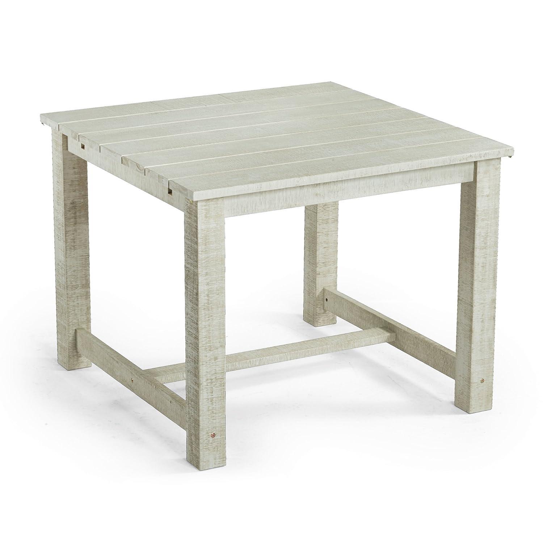 Gartentisch Lordi aus Akazienholz, weiß/grau, ca. 100x100 cm