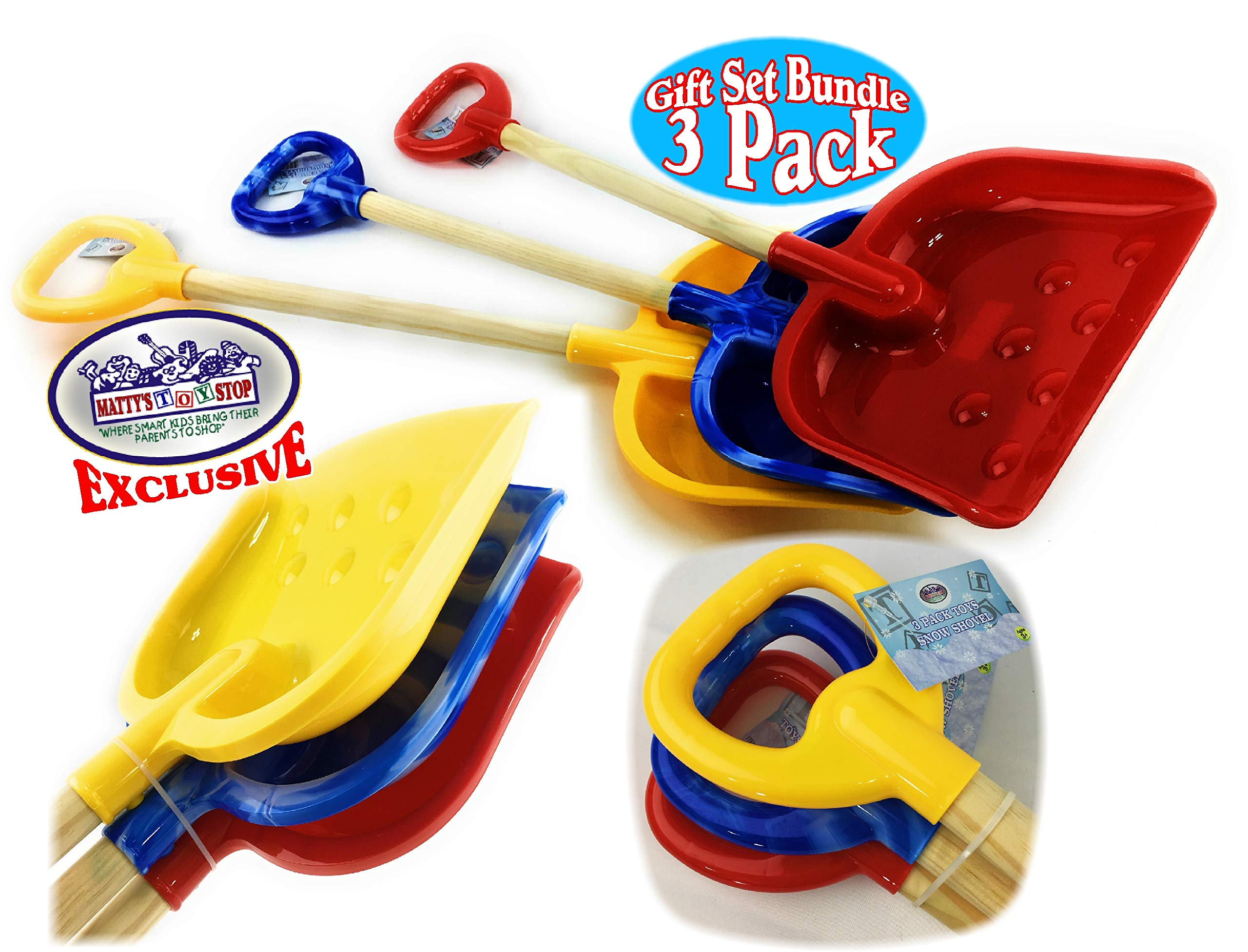 Matty's Toy Stop 28'' Heavy Duty Wooden Snow Shovels with Plastic Scoop & Handle for Kids Red, Yellow & Blue Swirl Gift Set Bundle - 3 Pack by Matty's Toy Stop (Image #2)