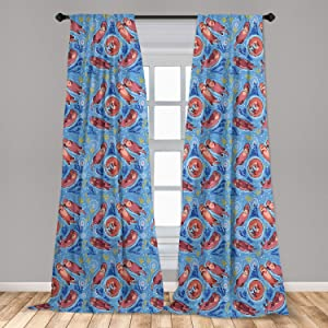 "Ambesonne Nursery 2 Panel Curtain Set, Cartoon Style Otters with Ornamental Seaweed and Corals in Blue Water, Lightweight Window Treatment Living Room Bedroom Decor, 56"" x 63"", Ocean Blue"