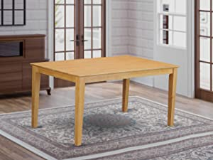 East West Furniture CAT-OAK-S Rectangular Dining Table with Solid Wood Top, 36-Inch by 60-Inch