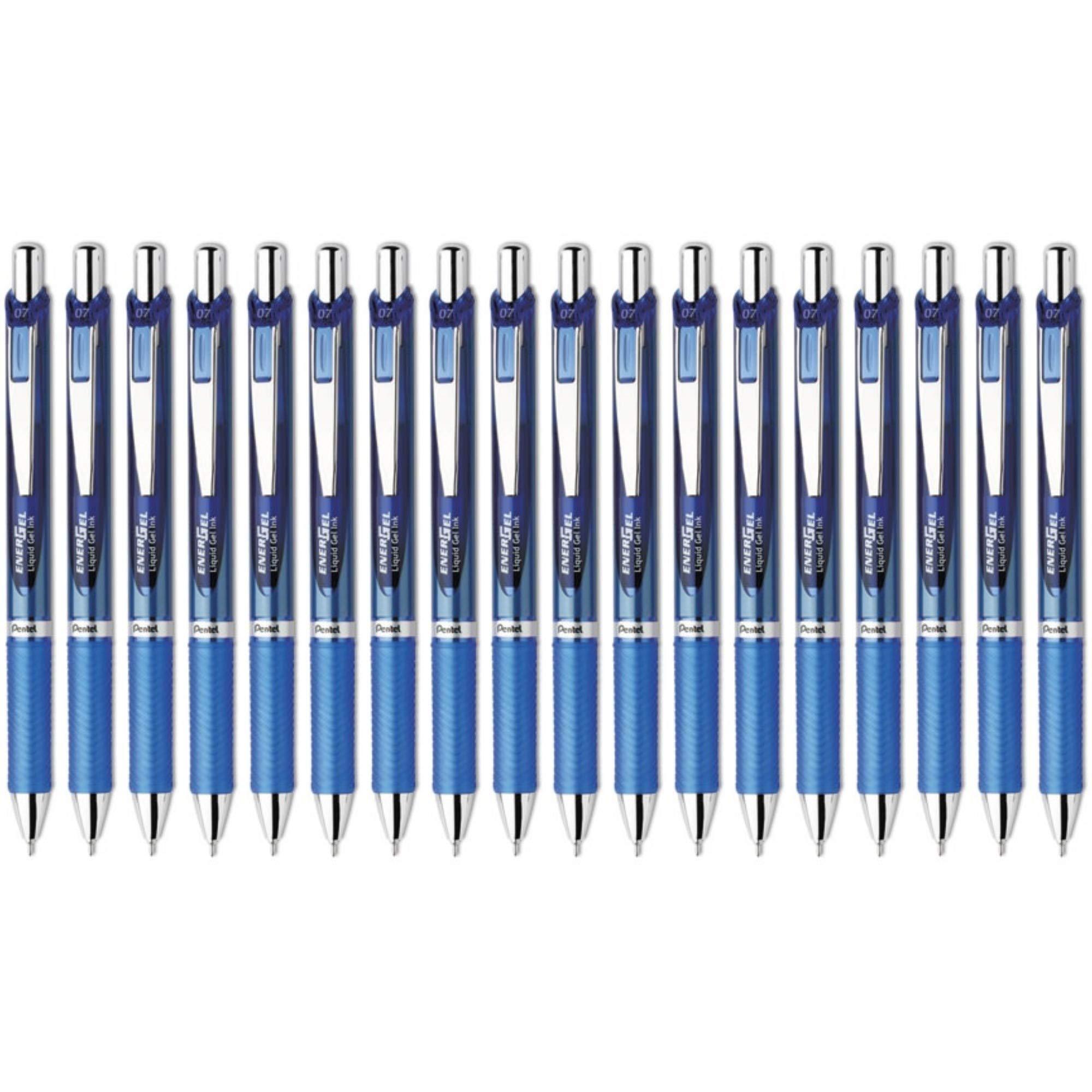 Pentel EnerGel Deluxe RTX Retractable Liquid Gel Pen, 0.7mm Medium Line, Needle Tip, Blue, Pack of 18