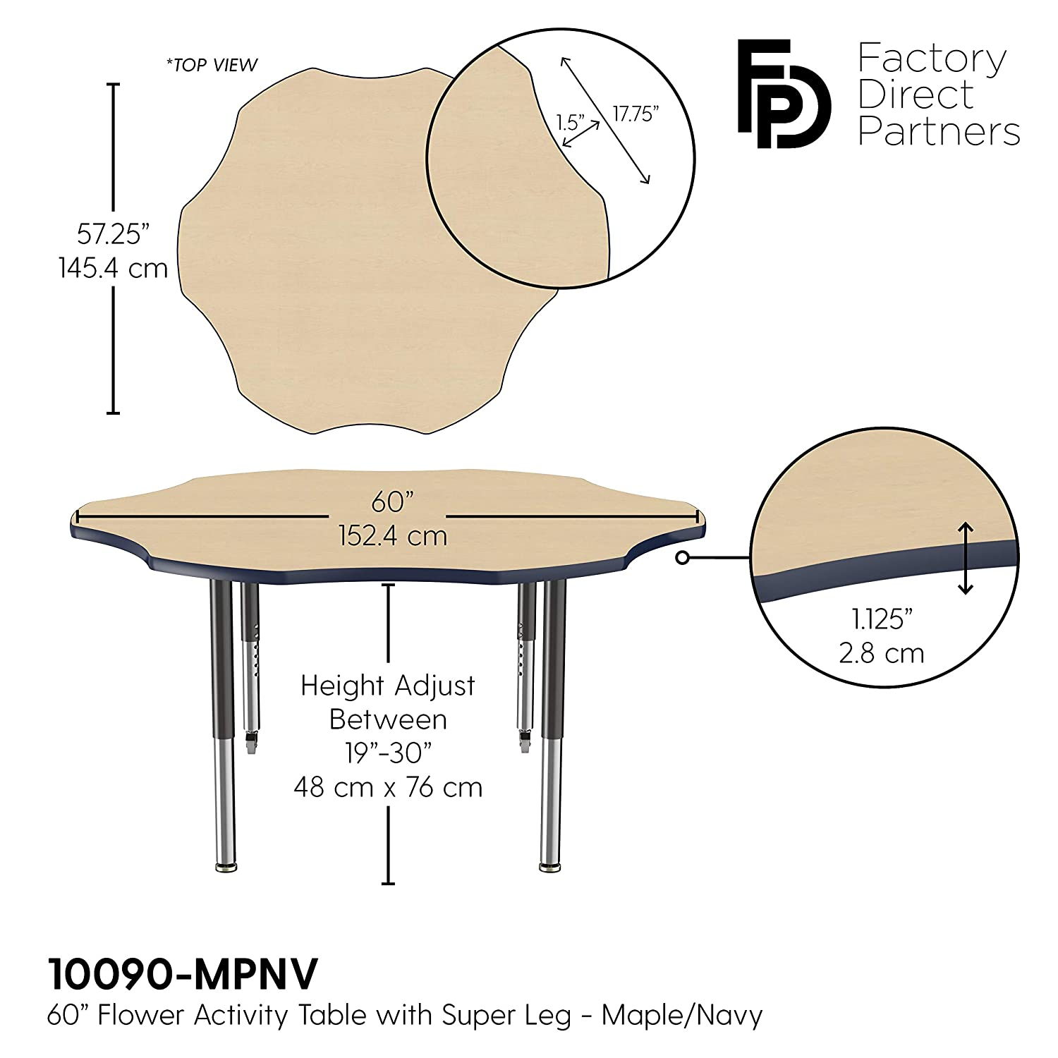 Adjustable Height 15-24 inches FDP Flower Activity School and Classroom Kids Table Maple Top and Black Edge 60 inch Toddler Legs for Collaborative Seating Environments