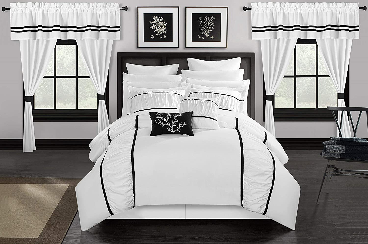 Chic Home Mayan 24 Piece Bed in a Bag Comforter Set, King, White,